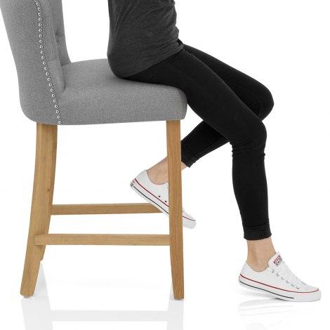 Windsor Bar Stool Grey Fabric Seat Image