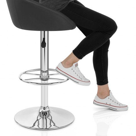 Zenith Real Leather Stool Black Seat Image