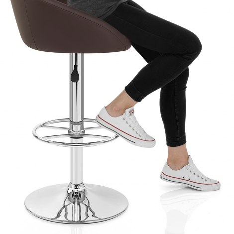 Zenith Real Leather Stool Brown Seat Image