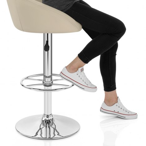 Zenith Real Leather Stool Cream Frame Image