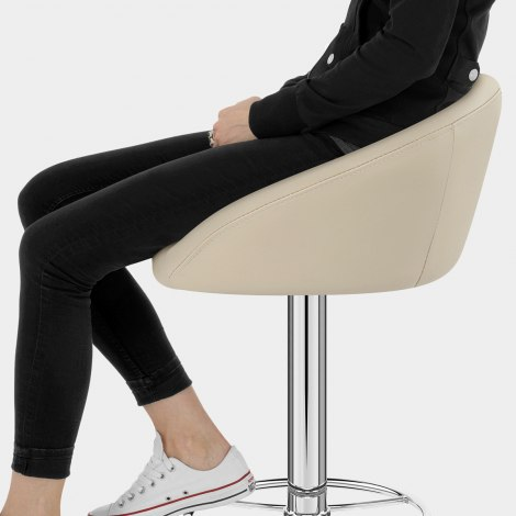 Zenith Real Leather Stool Cream Seat Image
