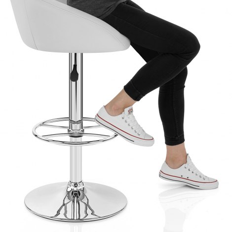 Zenith Real Leather Stool White Seat Image