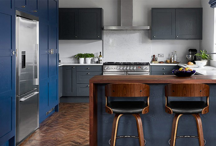 Alicia Walnut & Black In Blue Kitchen