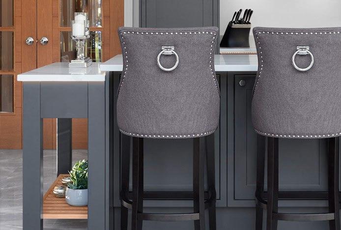 Ascot Bar Stool Charcoal Fabric