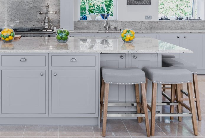 Audley Oak Stool With Chrome Footrest At Kitchen Island
