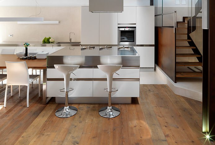 Bombo Stools at Steel Kitchen Counter