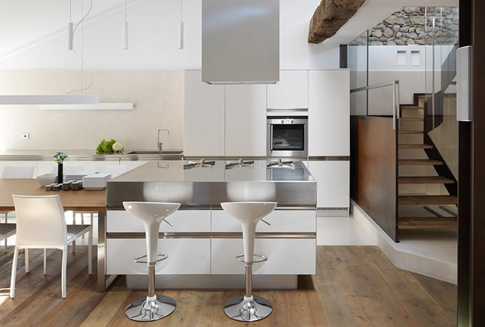 Bombo Bar Stool In Kitchen With Contrasting Textures
