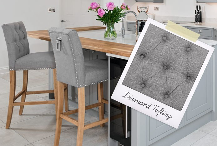 Barrington Oak Stool Grey Fabric With Diamond Tufting