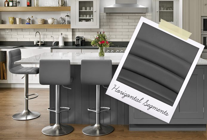 Linear Brushed Steel Bar Stool With Horizontal Stitched Segments
