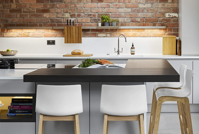 Drift Oak Bar Stool In Kitchen With Contrasting Textures