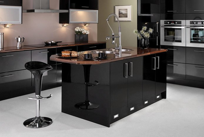 Black Bar Stools in Black Kitchen