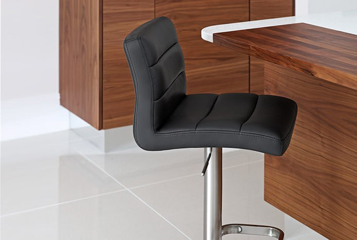 Black Bar Stools with Stitch Detail