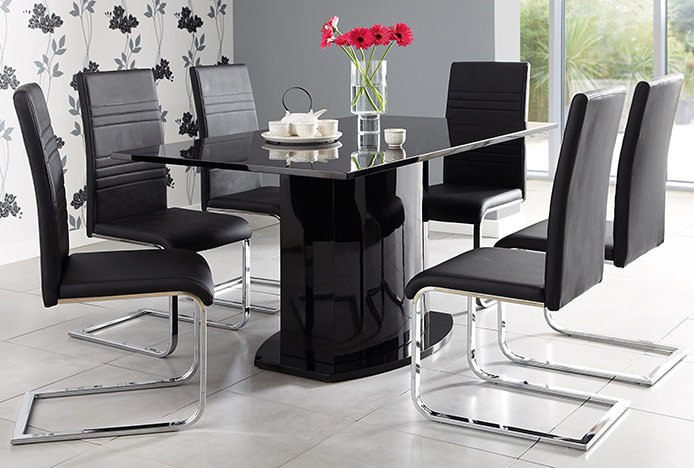 Black Dining Table with Cantilever Chairs