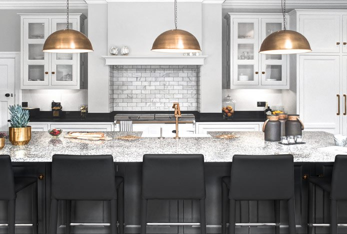 Black Healey Stools in Black Kitchen