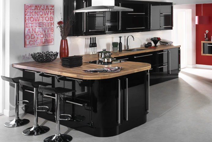 Black Mars Stools in Modern Black Kitchen