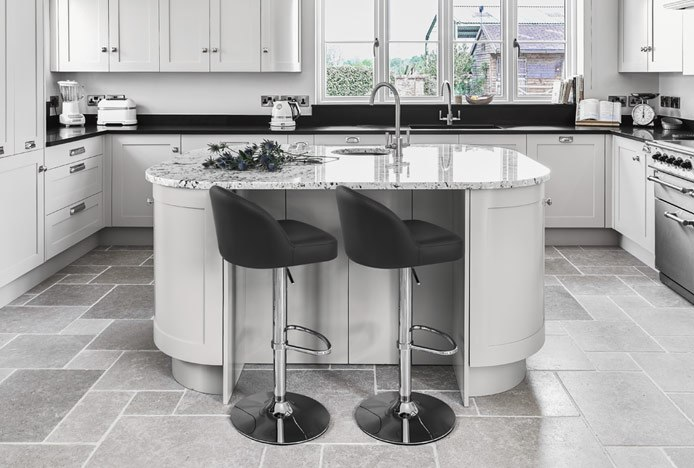 Mimi Chrome Stool Black in Modern Black Kitchen