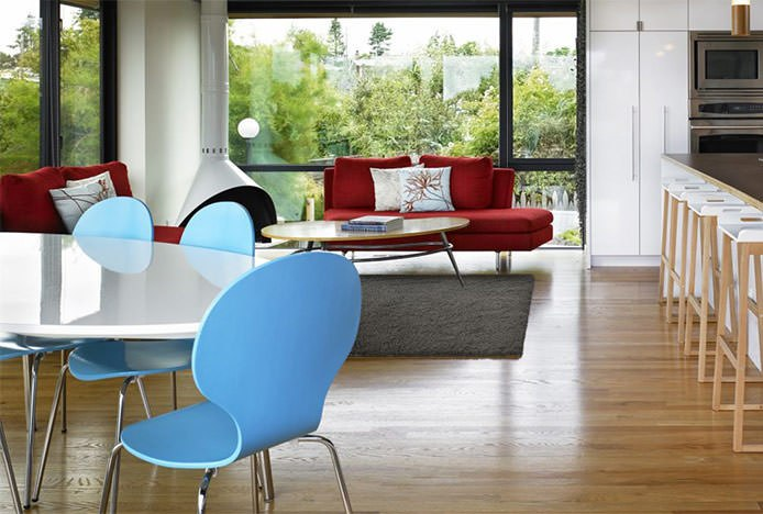 Blue Candy Chairs at White Table