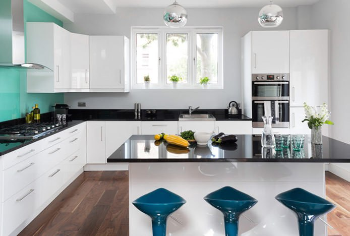 Blue Coco Stools in Turquoise Kitchen