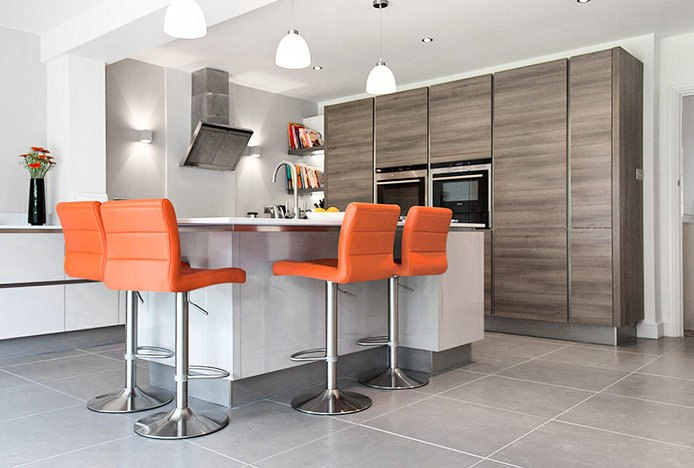 Breakfast Bar Stool Orange In Kitchen