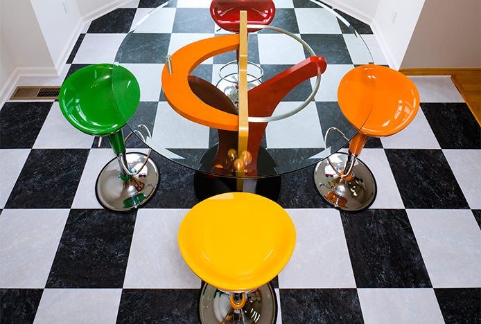 Bright Stools on Chequered Floor