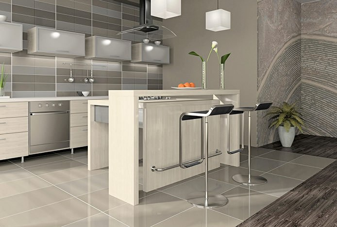 Brushed Steel ART Stools in Kitchen