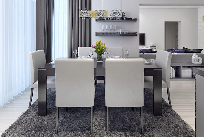 Brushed Steel Dining Table with Chairs