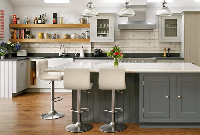 Brushed Steel Linear Stools in Kitchen