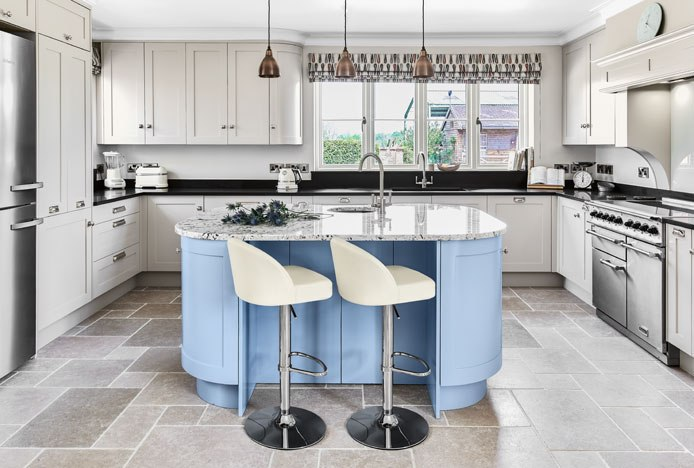 Mimi Chrome Stool Cream In Tranquil Kitchen