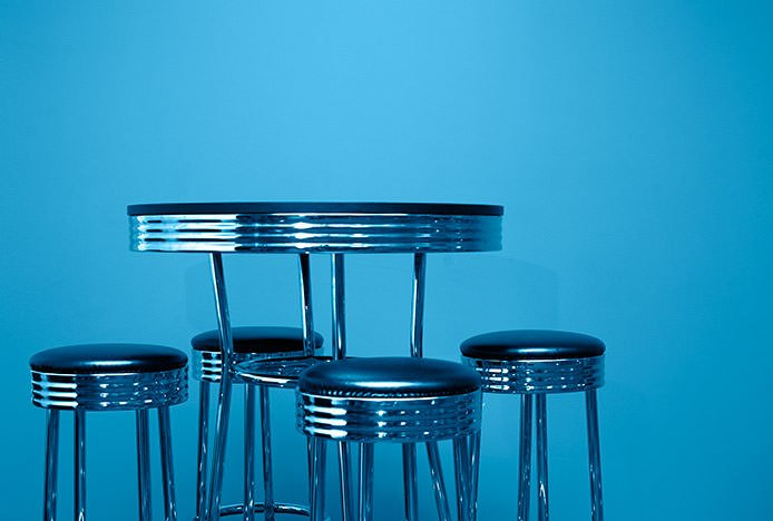 Chrome American Diner Stools Blue Background