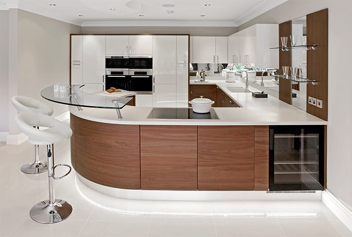 Chrome Crescent Stools in Wooden Kitchen