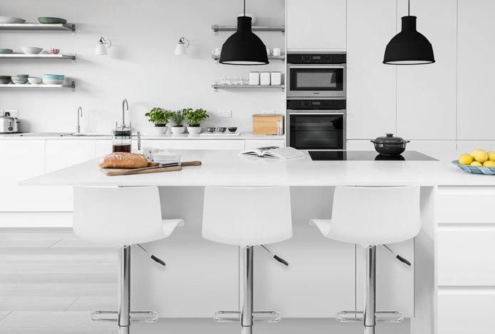 Clean Modern Kitchen With Serena Bar Stool