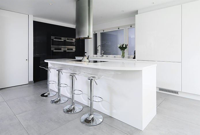 Clear Stools at Breakfast Bar