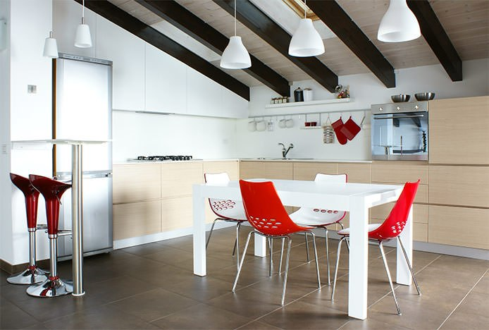Coco Stools with Red Dining Chairs