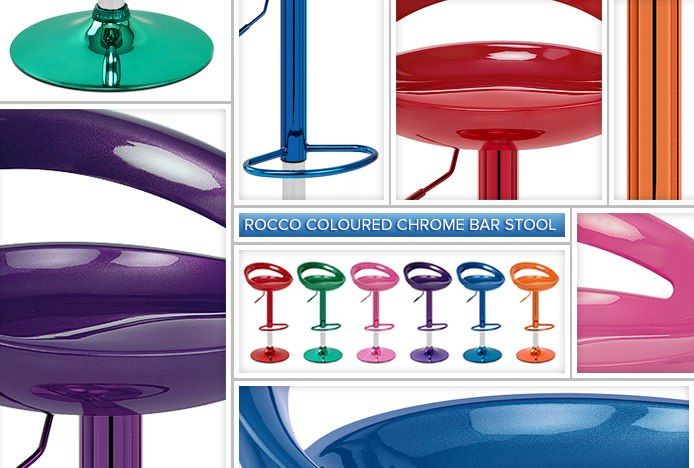 Rocco Coloured Chrome Bar Stools