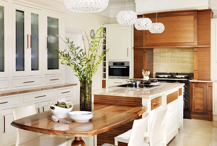 Natural Greenery In Cream Kitchen