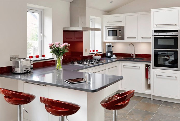 Marsala Kitchen With Crescent Stools
