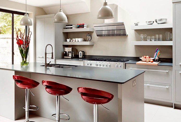 Crescent Red Stools at Kitchen Island
