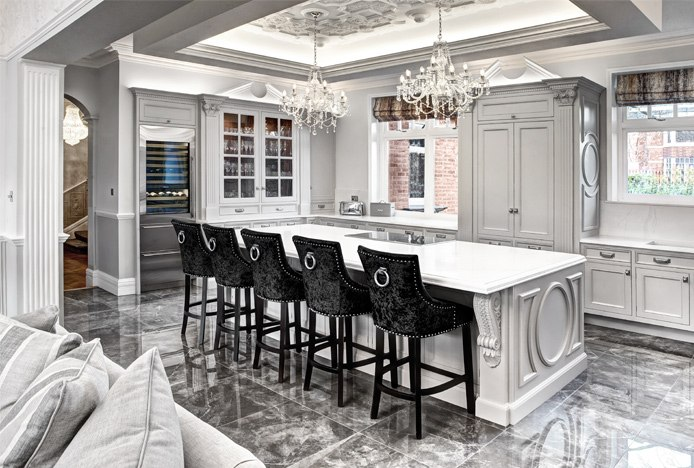 Crushed Velvet Bar Stools In Kitchen