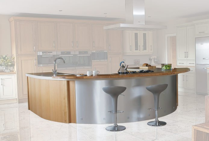 Curved Breakfast Bar With Bombo Bar Stools