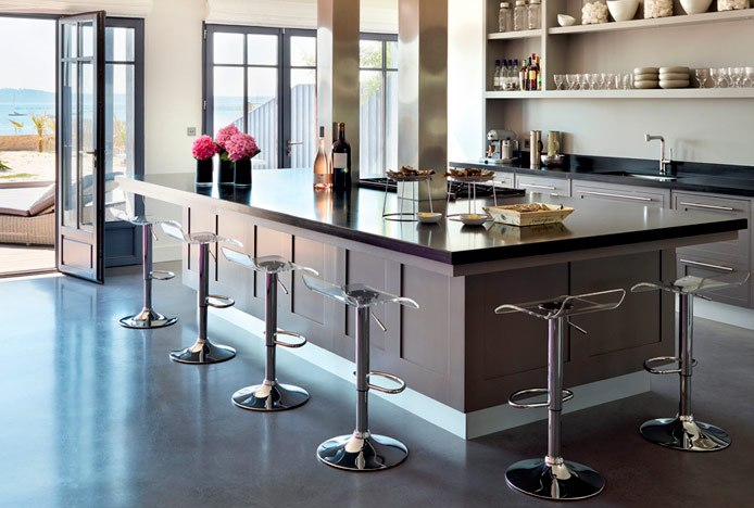 Shimmer Translucent Stool Clear in Kitchen