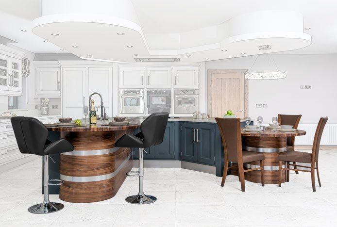 Custom-Made Breakfast Bar With Diamond Bar Stools