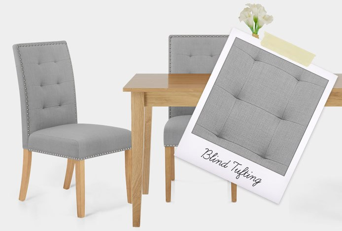 Arlington Dining Chair Grey Fabric With Blind Tufting