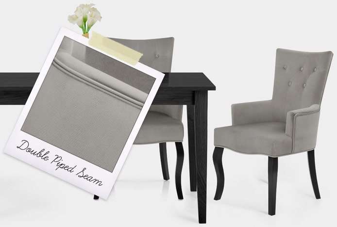 Fleur Chair Grey Velvet With Double Piped Seam
