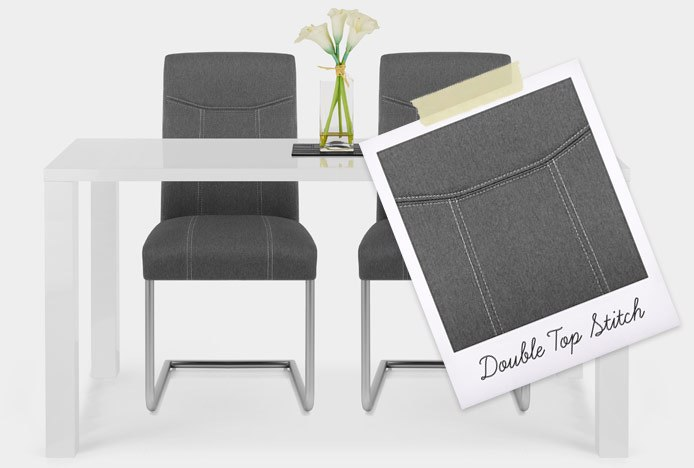 Lancaster Dining Chair Grey Fabric With Double Top Stitched Seam