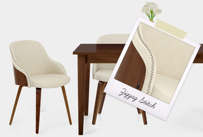 Fusion Walnut Chair Cream With Zigzag Stitch