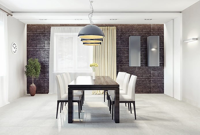 Formal Dining Room With Pendant Lighting
