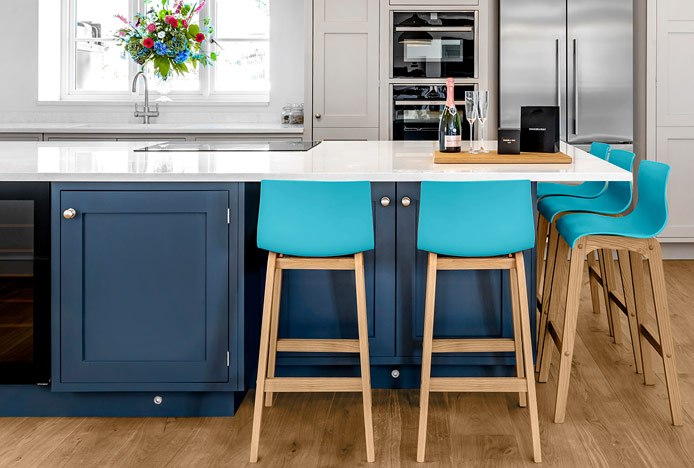 Drift Oak Stool Blue In A Shaker Kitchen