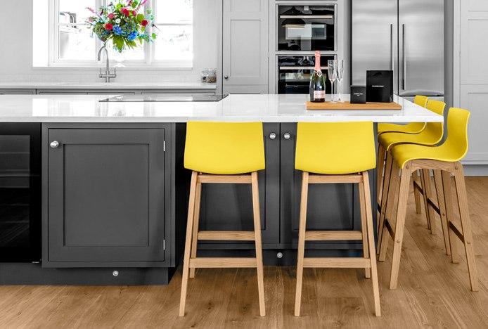 Drift Oak Stool Yellow In Grey Kitchen