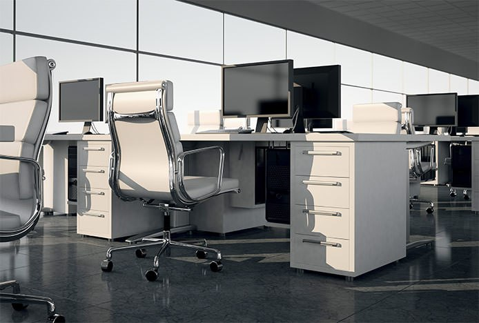 White Office Chair At Desk