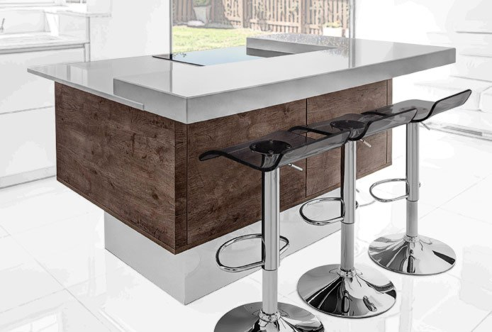 Elevated Breakfast Bar With Shimmer Translucent Stool Smoked